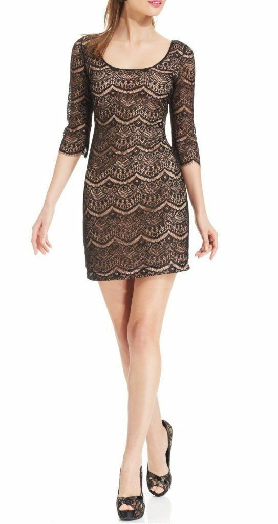 NWT GUESS Three-Quarter-Sleeve Lace Sheath dress, Größe 4