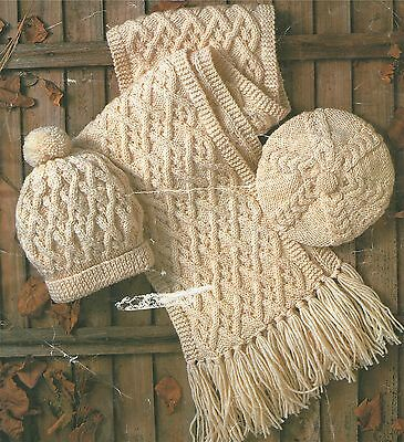 Womens, Mens and Childrens Aran Hat, Scarf and Beret Knitting Pattern