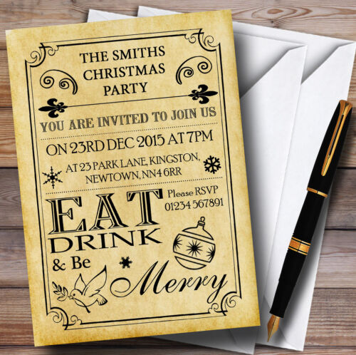 Old Vintage Eat Drink Be Merry Personalised Christmas Party Invitations