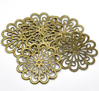 20 Bronze Tone Filigree Flower Wraps Connectors Embellishments Findings 6x6cm