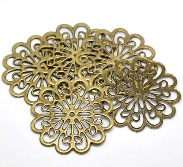 20 Bronze Tone Filigree Flower Wraps Connectors Embellishments Findings 6x6cm