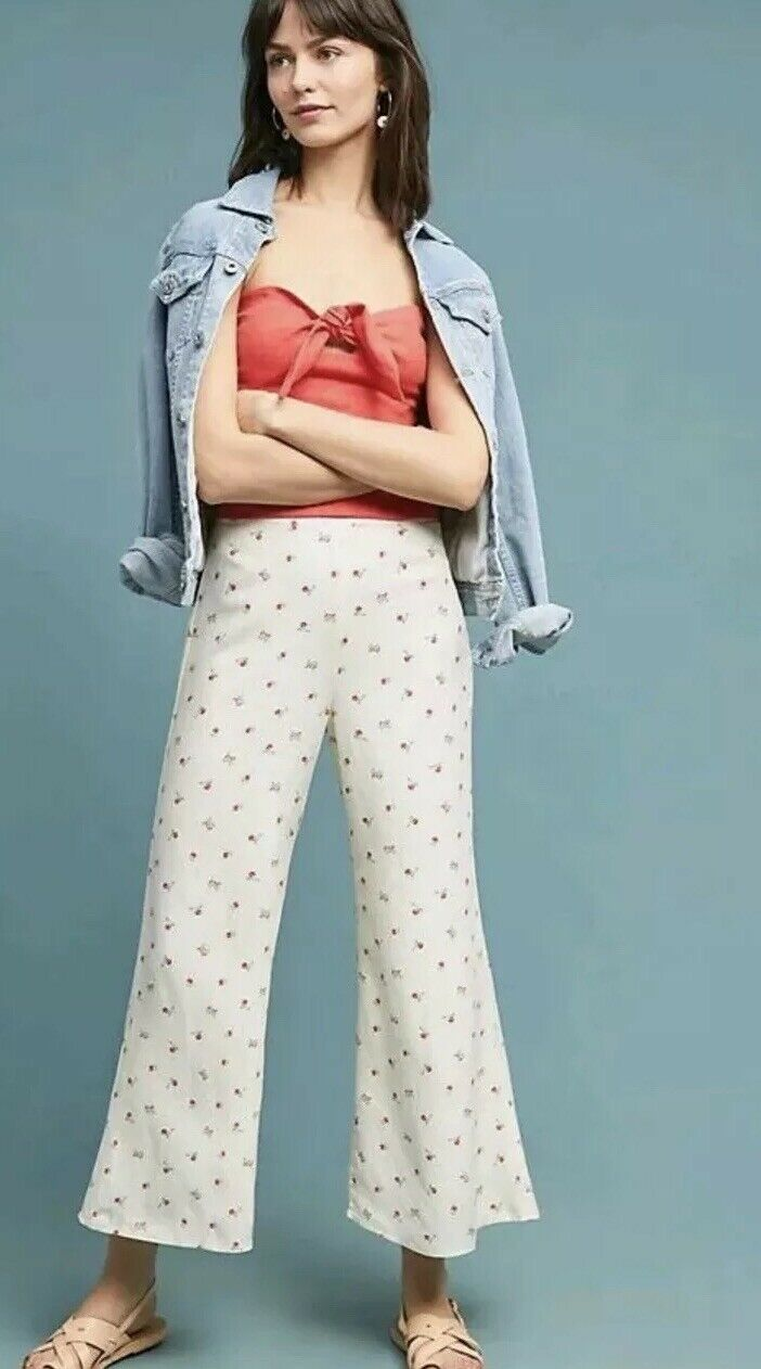 11. Anthropologie Feather Bone Womens Talese Cherry Wide Leg Pants 6 NWT