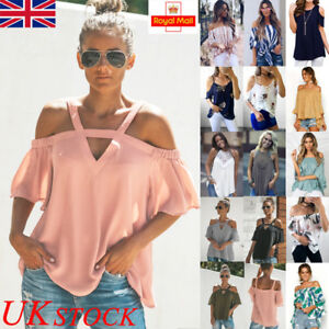UK-Womens-Summer-Casual-Short-Sleeve-Blouse-Ladies-Loose-T-Shirt-Tops-Plus-Size