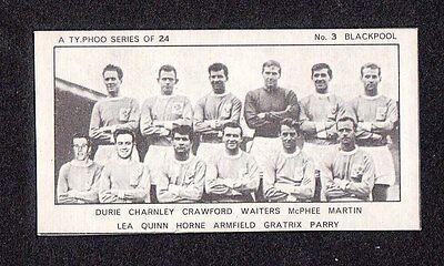 Blackpool FC Football Club Team 1950s Typhoo British Football Soccer Card