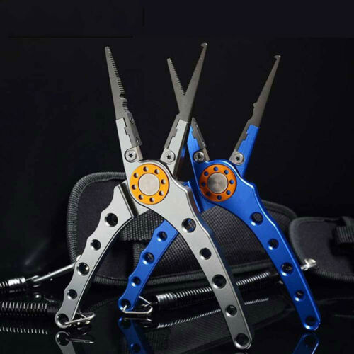 Fishing Pliers Aluminum 20CM Fish Tackle with Black Pouch /& Secure Lanyard US