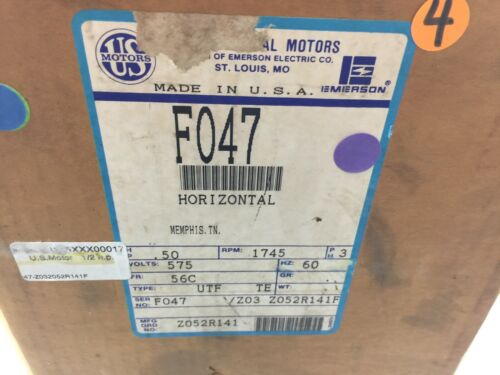 NEW IN BOX US MOTORS 12 HP 1745 RPM 3PH 575VAC 56C FR HORIZONTAL MOTOR FO47