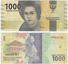 Indonesia 1000 Rupiah 2016 P-154a UNC Uncirculated Banknote + FREE NOTE