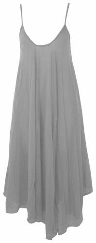 Womens Italian Lagenlook Cami Strap X-Flare Hem Midi Dress or Textured Over Top
