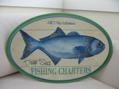 Oval Fish DEEP SEA FISHING CHARTERS Timber Sign BRAND NEW Beach House WHITE Boat