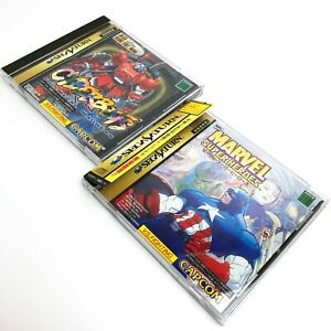 Lot-2-Cyberbots-amp-Marvel-Super-Heroes-w-Spine-CAPCOM-Sega-Saturn-SS-Japan