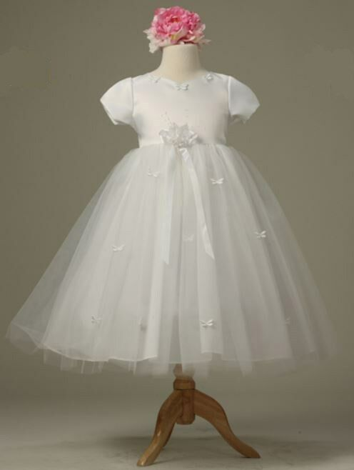 CLOSEOUT FLOWER GIRLS WEDDING PAGEANT WHITE/IVORY/PINK PARTY DRESS SZ 2, 4, 6, 8