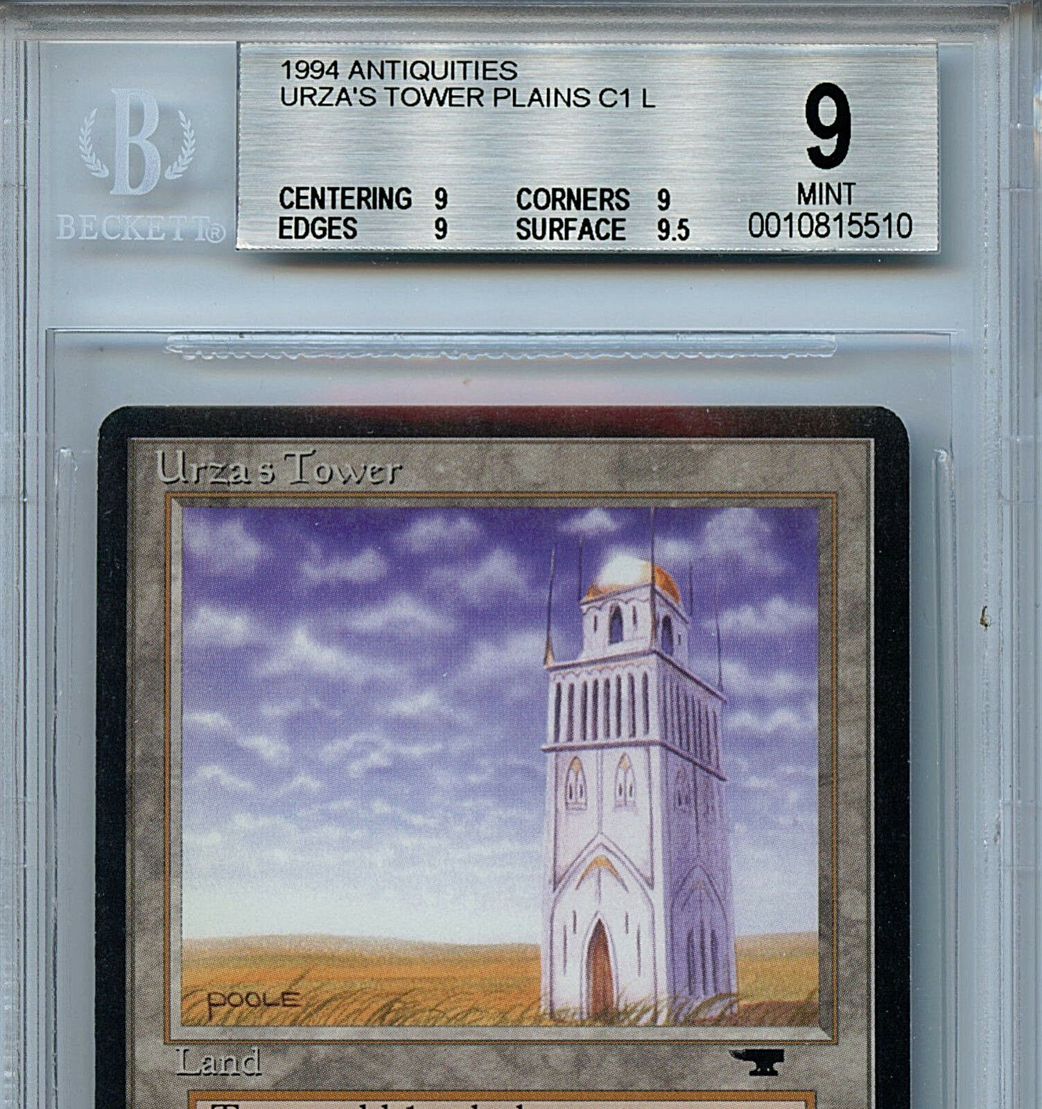 MTG Antiquities Urza's Tower Tower Tower BGS 9.0 (9) Mint Plains Magic Amricons 5510 75f21f