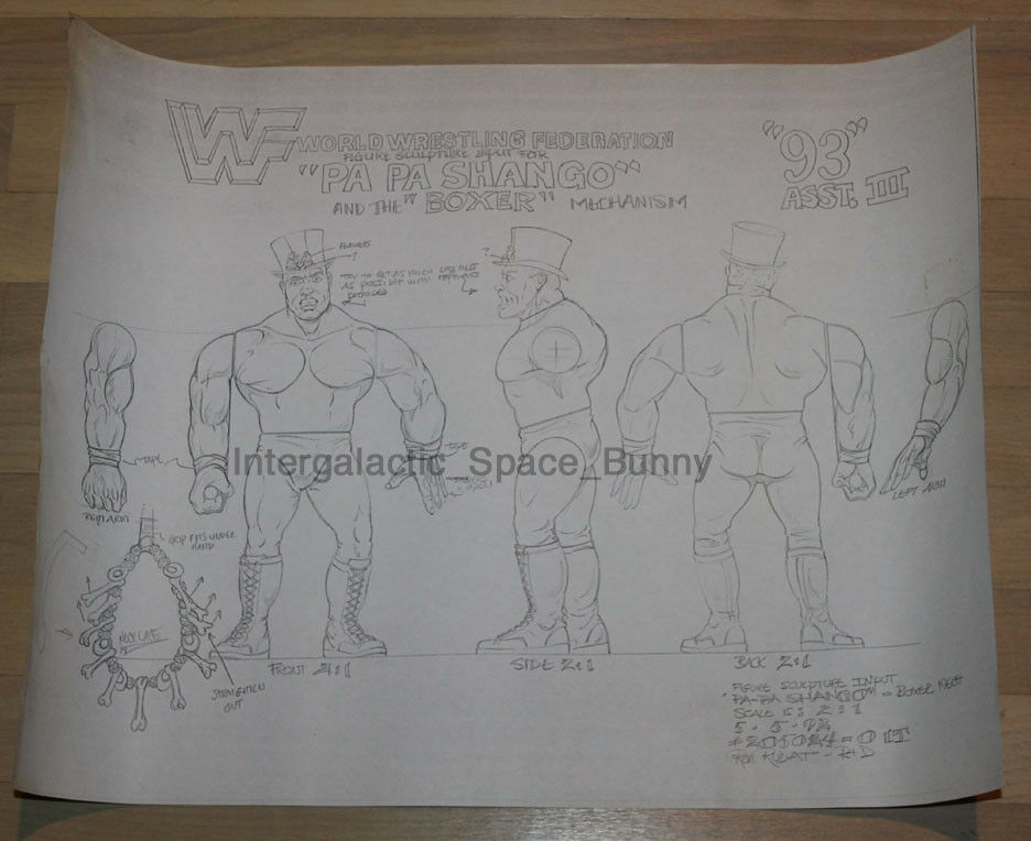 Hasbro WWF Papa Shango Internal Sculpting Sheet Input Prototype