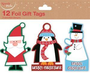 12-FOIL-GIFT-TAGS-CHRISTMAS-SANTA-XMAS-GIFT-WRAPPING-PRESENT-VARIOUS-DESIGNS