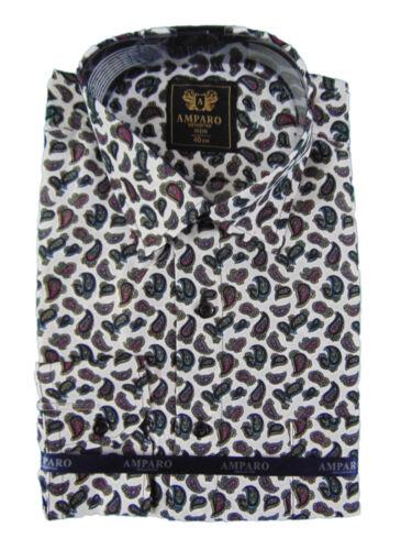 Mens Floral Paisley Shirt Cotton Long Manche Classic Vintage S M L XL XXL