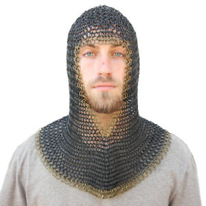 Medieval V Face Mild Steel Chainmail Coif Armor