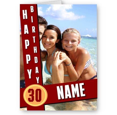 Photo personnalisé, un nom et tout âge thème spécial design A5 Carte D'Anniversaire