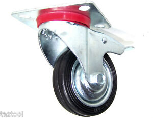 24-PCS-3-034-CASTER-WHEELS-WITH-BASE-WHEEL-WITH-BRAKES-BEARINGS-SWIVEL-RUBBER-TIRE