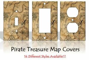 Pirate Treasure Map Light Switch Covers Bedroom Kids Baby Home Decor