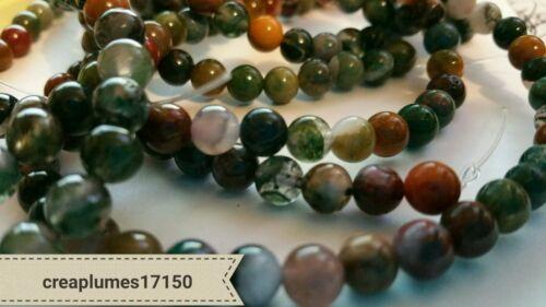 lot de 30  Perles naturelles agate indienne 6 mm