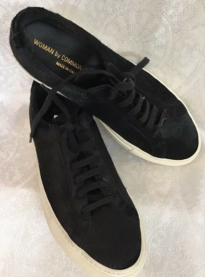 Woman By Common Projects Tennis Shoe Black Calf Hair  Size 39 New