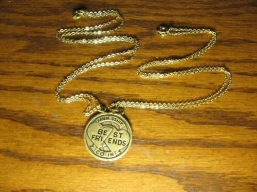 """2 Piece Antique Gold Look Best Friends Charm Pendant Necklace 18/"""""""