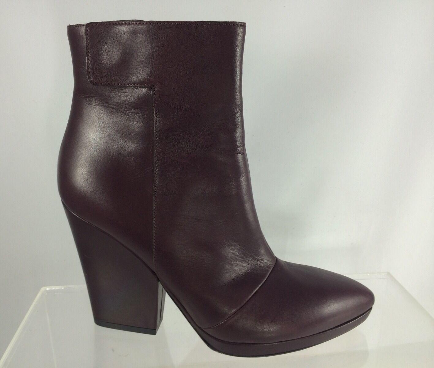 550 Vince Luisa Maroon Brown Leather Split Wedge Pointed-Toe Womens Booties 7.5