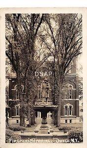 A23-NEW-YORK-NY-Real-Photo-RPPC-Postcard-c1910-OWEGA-Firemens-Memorial-Fountain
