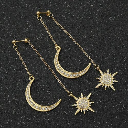 Cristal étoile et lune Boucles d/'oreilles strass long pendentif Dangle Fashion Jewelry