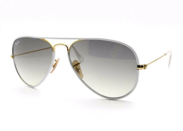 c46b44c967 Ray-Ban RB3025JM 146 32 58mm White Gold Gray Lenses Unisex Aviator  Sunglasses