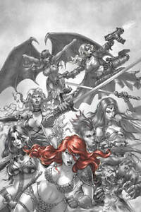 Red-Sonja-Age-of-Chaos-1-1-15-Quad-B-amp-W-Red-Virgin-Dynamite1st-Print-2020-NM