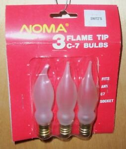 NOMA-FROSTED-FLAME-TIP-C-7-BULBS-3-CT-120V-FITS-ANY-C7-SOCKET-NOS