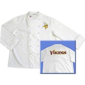 Minnesota Vikings NFL Classic Chef Chefs Coat Jacket Tailgate - Sizes: L XL