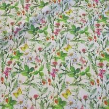 Stoff Baumwolle Blumenwiese bunt Schmetterlinge bunt grün Blüten Neu Frühling