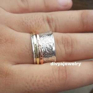 Solid-925-Sterling-Silver-Spinner-Ring-Meditation-Statement-Ring-Size-sr244