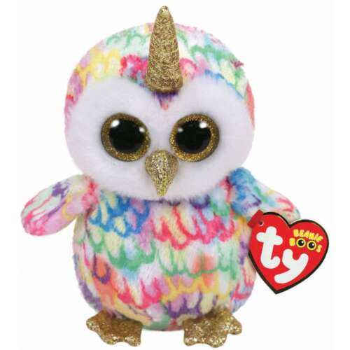 TY BEANIE BABIES BOOS ENCHANTED OWL WITH HORN PLUSH SOFT TOY NEW WITH TAGS