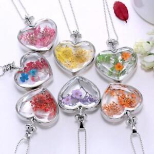 Mujer-Collar-Gargantilla-Colgante-Seco-Flores-De-Cristal-Joyeria-Regalo-Necklace