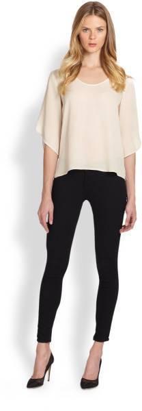 DVF Diane Von Furstenberg Nancy Tulip Sleeve Silk Top Blouse Ecru Cream