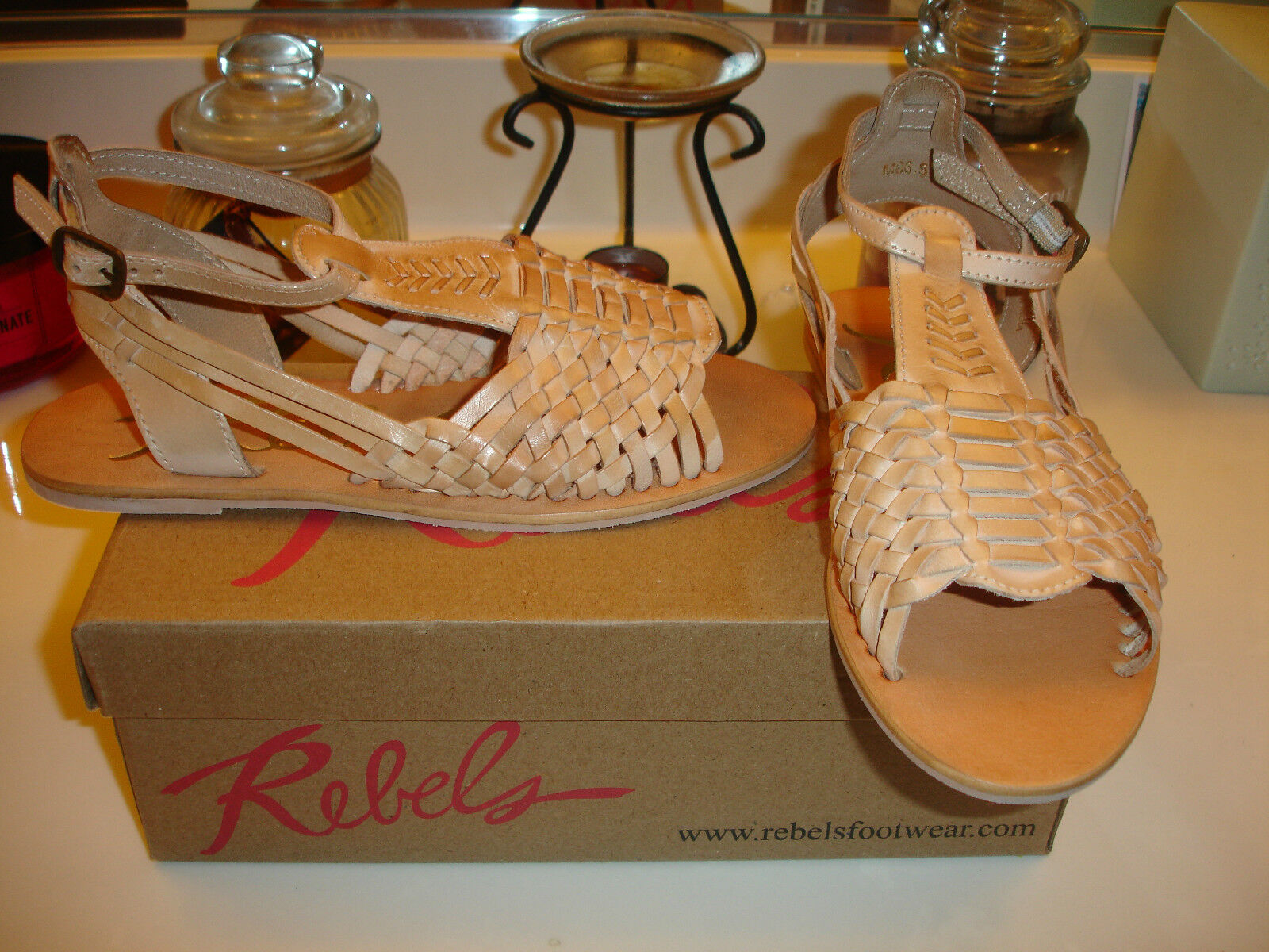 Rebels Nadia 2 Natural Tan Cuir Sandale Confort  85 6.5 7 7.5 8 8.5 9 10 NICE