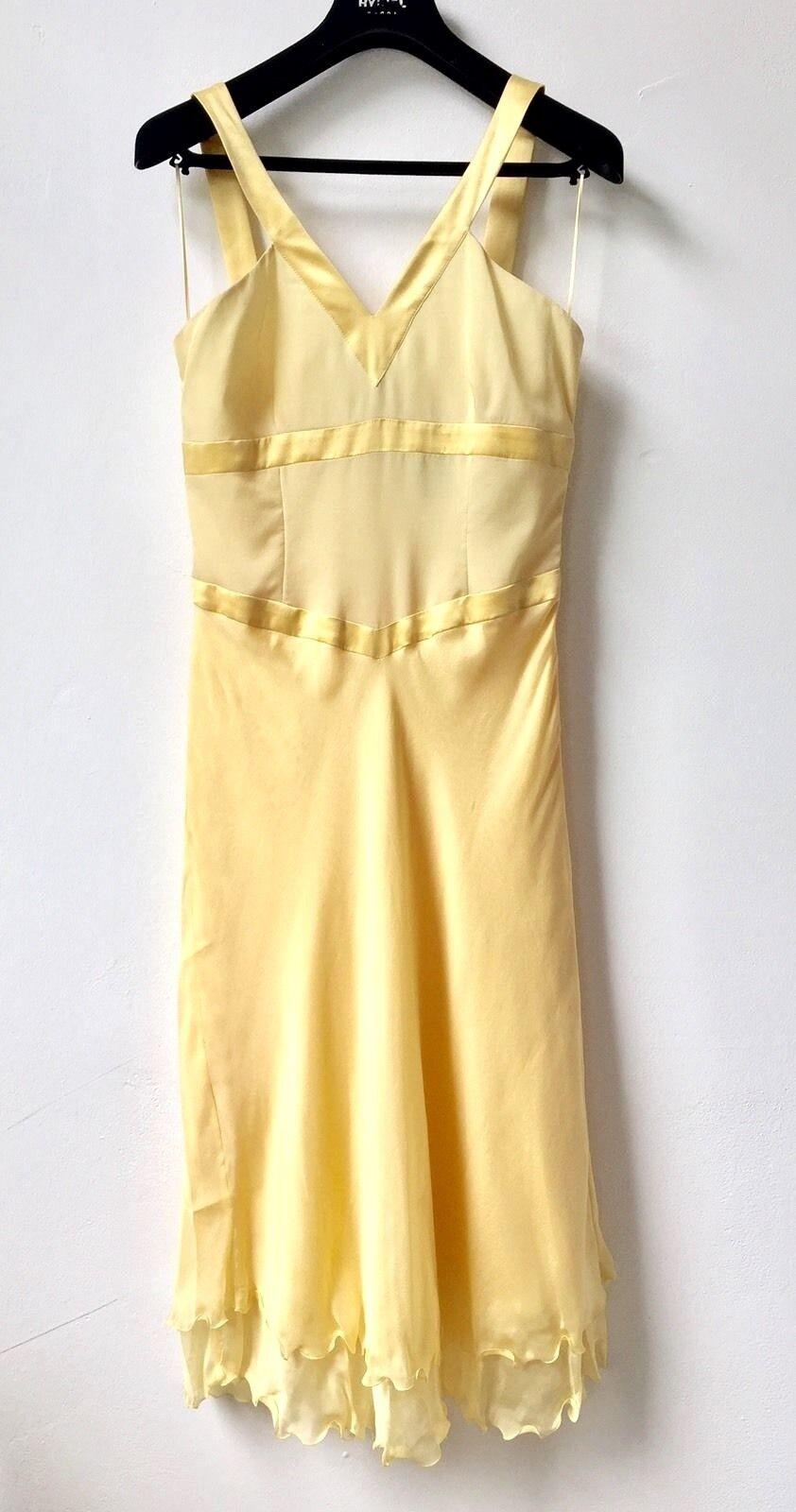 ROBERTO VERINO 100% Seide Kleid Gr 38 Gelb Freizeitkleid Abendkleid