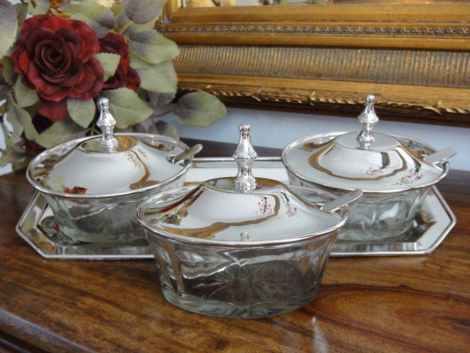 Tapas plato de set marmeladendose kaviardose dip vidrio plata Antik Jugendstil