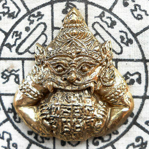 Details about Brass Giant Phra Rahu Om chan ( Moon Eater) Powerful Thai  Amulet Talisman Wealth