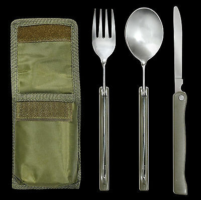 480-CK Chow Kit 3 Piece Stainless Steel Eating Utensils w// Storage Carry Pouch