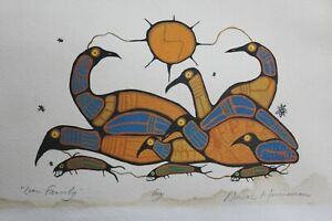 """Norval Morrisseau 6""""x9"""" """"Loon Family"""" Art Card Hand Signed"""