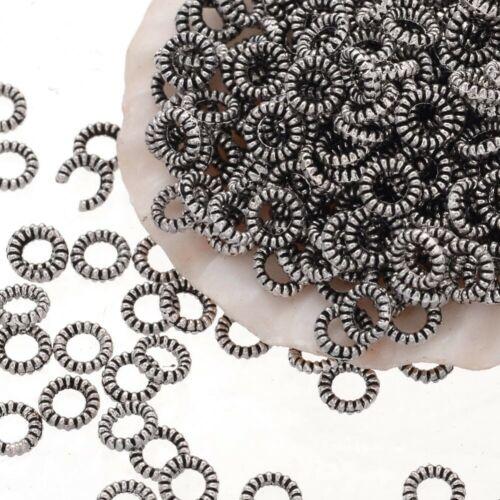 100 Metallperlen Tibet Silber 4mm Spacer Ring Schmuck Zwischenteile F382