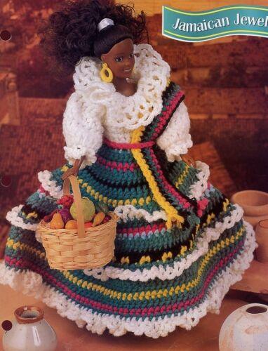 Jamaican Jewel Dress, Shawl fits Barbie Doll Crochet Pattern Leaflet NEW