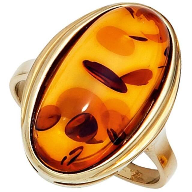 JOBO Damen Ring 52mm 375 Gold Gelbgold 1 Bernstein-Cabochon orange Bernsteinring
