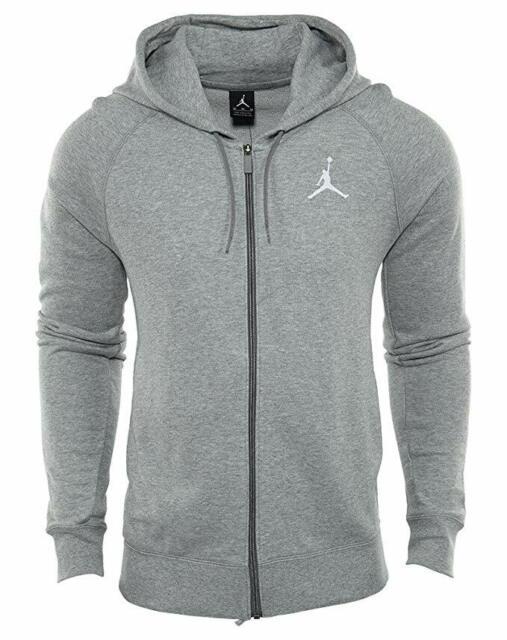Dark Grey Heather//White 822658-063 New Men/'s Jordan Flight Full-Zip Hoodie