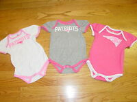 3 England Patriots Football Creepers Creeper Infant Baby Girl 0/3 Mo Pink