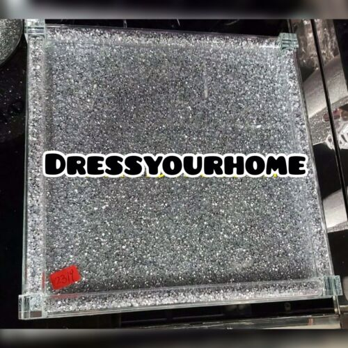 Crushed Crystal Diamond Silver Square Serving Tray Tea Coffee Sugar NEW